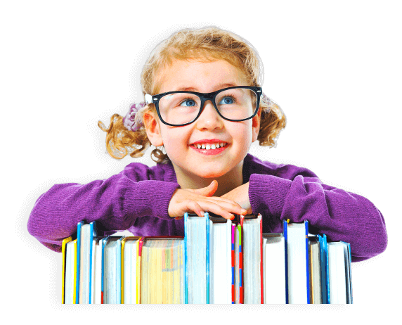 girl leaning on books