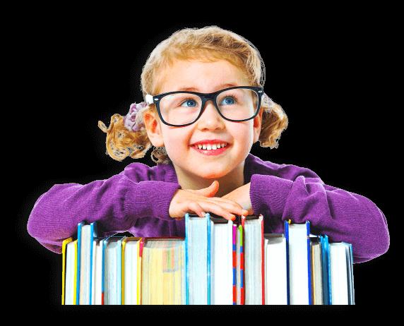 girl leaning on books