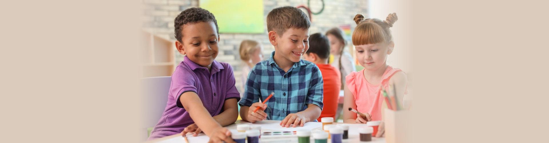 children doing an art